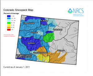 Current Snowpack Jan. 2011