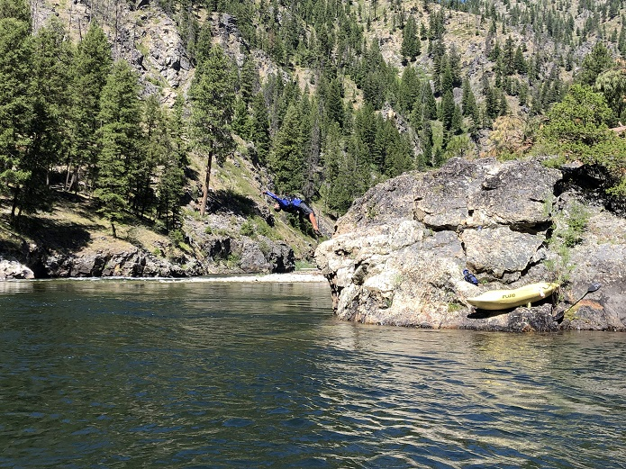 Jumping into river on Middle Fork